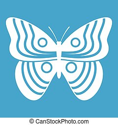 Stripped butterfly icon white isolated on blue background...