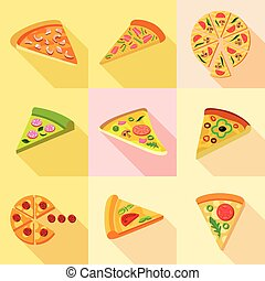 Pizza from around the world icons set, flat style