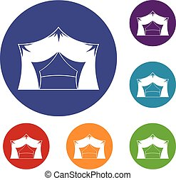 Awning tent icons set