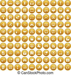 100 web and mobile icons set gold
