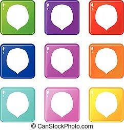 Hazelnut set 9 - Hazelnut icons of 9 color set isolated...