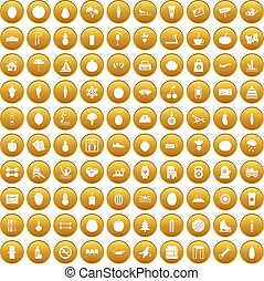 100 wellness icons set gold