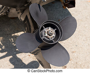 Close up of an outboard propeller - a close up of an...