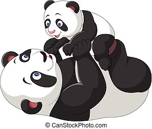Cute mother and baby panda - Vector illustration of Cute...