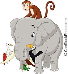 Happy animals cartoon - Vector illustration of Happy animals...