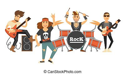 Rock music band singers and musicians with musical...