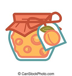 Apricot jam in jar - Vector illustration of jar with apricot...