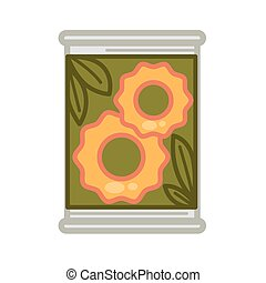 Tin with preserved pineapples - Vector illustration of metal...