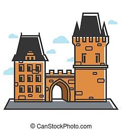 Prague castle Czech travel tourist attractions and famous culture landmark vector icon