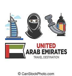 Arab Emirates travel and culture vector symbols - Arab...
