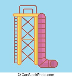 Big ladder and slide - Vector illustration of big aquapark...