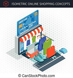 Online shopping isometric icons set. 3d monitor and credit...
