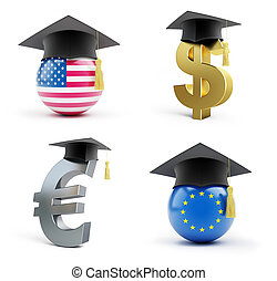 Education in the European Union and in the USA on a white...