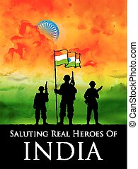 Indian soldier standing on tricolor flag of India backdrop