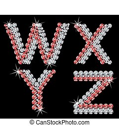 Set of diamond alphabetic letters. Vector (7) - Set of...