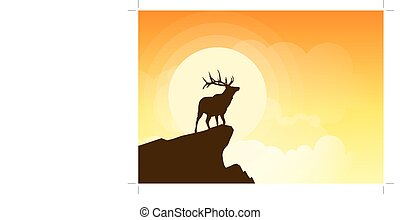 Deer silhouette on a cliff at sunset