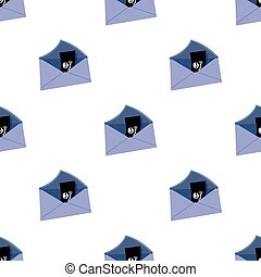 E-mail with virus icon in cartoon style isolated on white...