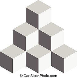 Pyramid of cubes. 3D vector illustration isolated on white...