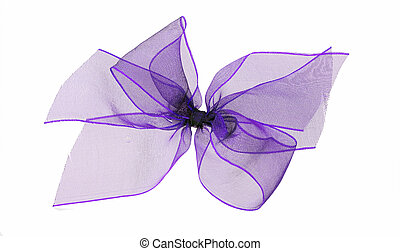 Purple net ribbon bow - isolated - Pretty and delicate bow,...