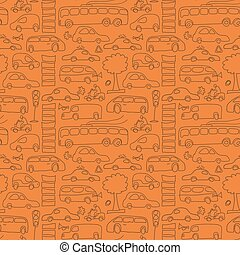Seamless Drawn Transport Pattern
