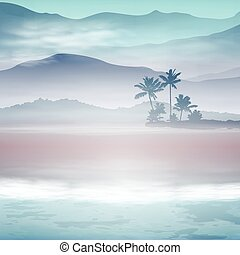 Background with sea and palm trees. Night time. EPS10...