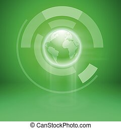 Abstract green background with the globe