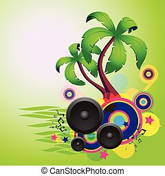 Tropical green disco dance background with speakers