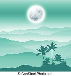 Background with fullmoon, palm tree and mountains in the...