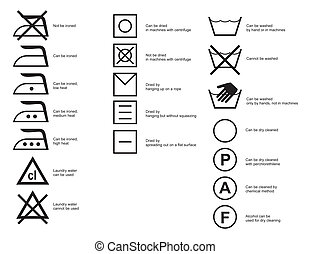Cloth symbols - Common cloth symbols of ironing, washing and...