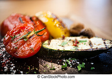 Grilled vegetables on a stone board - Grilled vegetables....