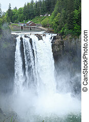 Mist Over Snoqualmie Falls - Snoqualmie Falls near Seattle,...