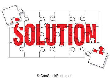 Solution puzzle - Puzzle pieces representing the solution,...