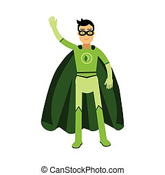 Ecological superhero man standing and waving his hand, eco concept vector Illustration