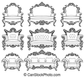 Baroque furniture set with luxurious ornaments. Vector...