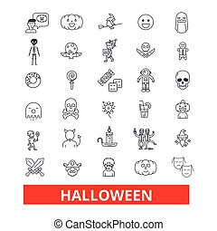 Halloween,celebration,holiday,horror,pumpkin,traditional,autumn,dayoff, pumpkin line icons. Editable strokes. Flat design vector illustration symbol concept. Linear signs isolated on white background