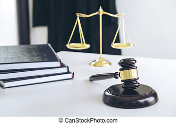 Attorney's suit, Law books, a gavel and scales of justice on a wooden white desktop, Lawyer and justice concept, law, legal advice