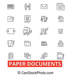 Paper documents, archive, paperwork, forms, bills, report, application line icons. Editable strokes. Flat design vector illustration symbol concept. Linear signs isolated on white background