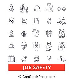 Job safety, assurance, immunity, security, protection, employment, career, safeness line icons. Editable strokes. Flat design vector illustration symbol concept. Linear signs isolated on background
