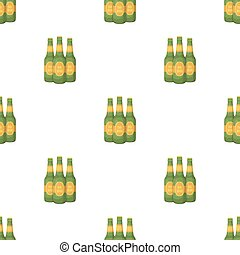 Green glass beer bottles. Alcoholic drink pub. Pub pattern...