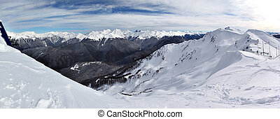 Meteo station in mountains in winter. Stitched panoramic...