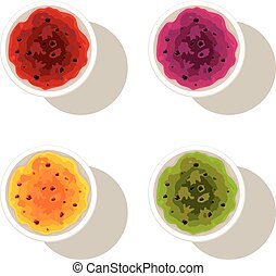 vector set of bowls with fruit jam