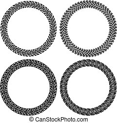 vector set of round tire tracks