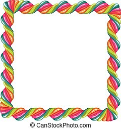 vector border of colorful twisted lollipop candy