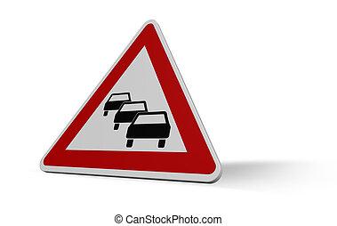 traffic jam - road sign traffic jam on white background - 3d...