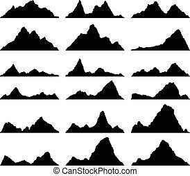 vector set of black and white mountain silhouettes