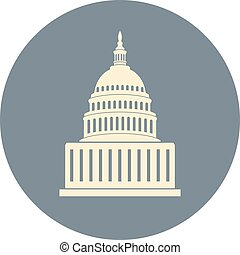 vector icon of united states capitol hill building washington dc