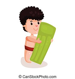 Little boy with green inflatable mattress, kid ready to swim colorful character vector Illustration