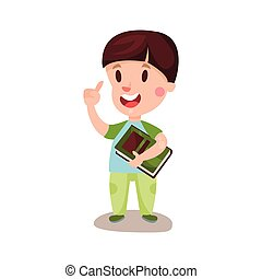 Cute happy boy with brown hair standing and holding a book, education and knowledge concept, colorful character vector Illustration