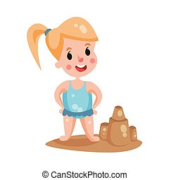 Cute little girl wearing blue swimsuit playing with sand on a beach, colorful character vector Illustration