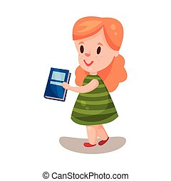 Adorable beautiful girl with a book, education and knowledge concept, colorful character vector Illustration